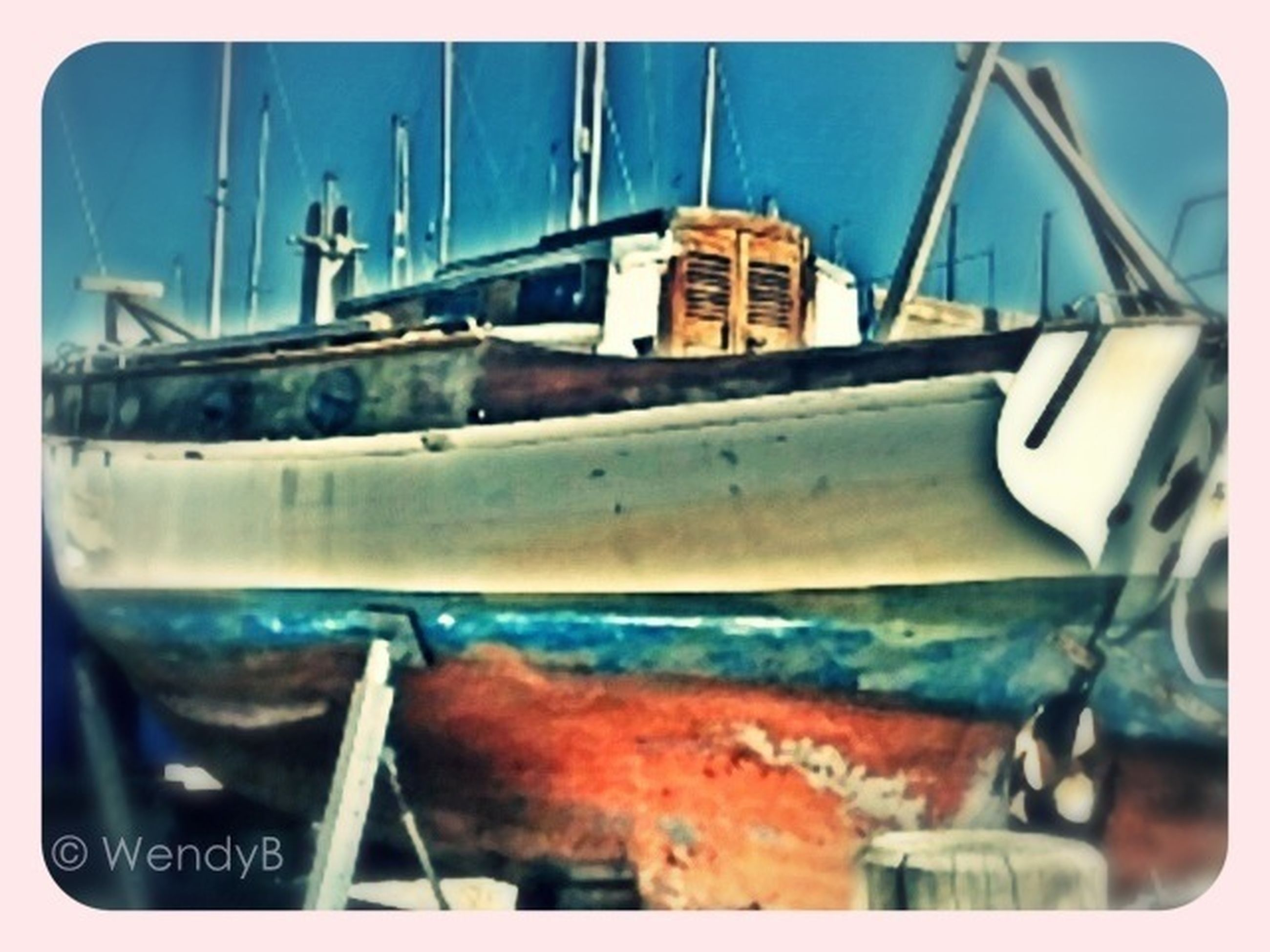 transportation, mode of transport, nautical vessel, boat, moored, blue, transfer print, water, metal, auto post production filter, rusty, harbor, close-up, day, no people, sea, obsolete, outdoors, abandoned, ship