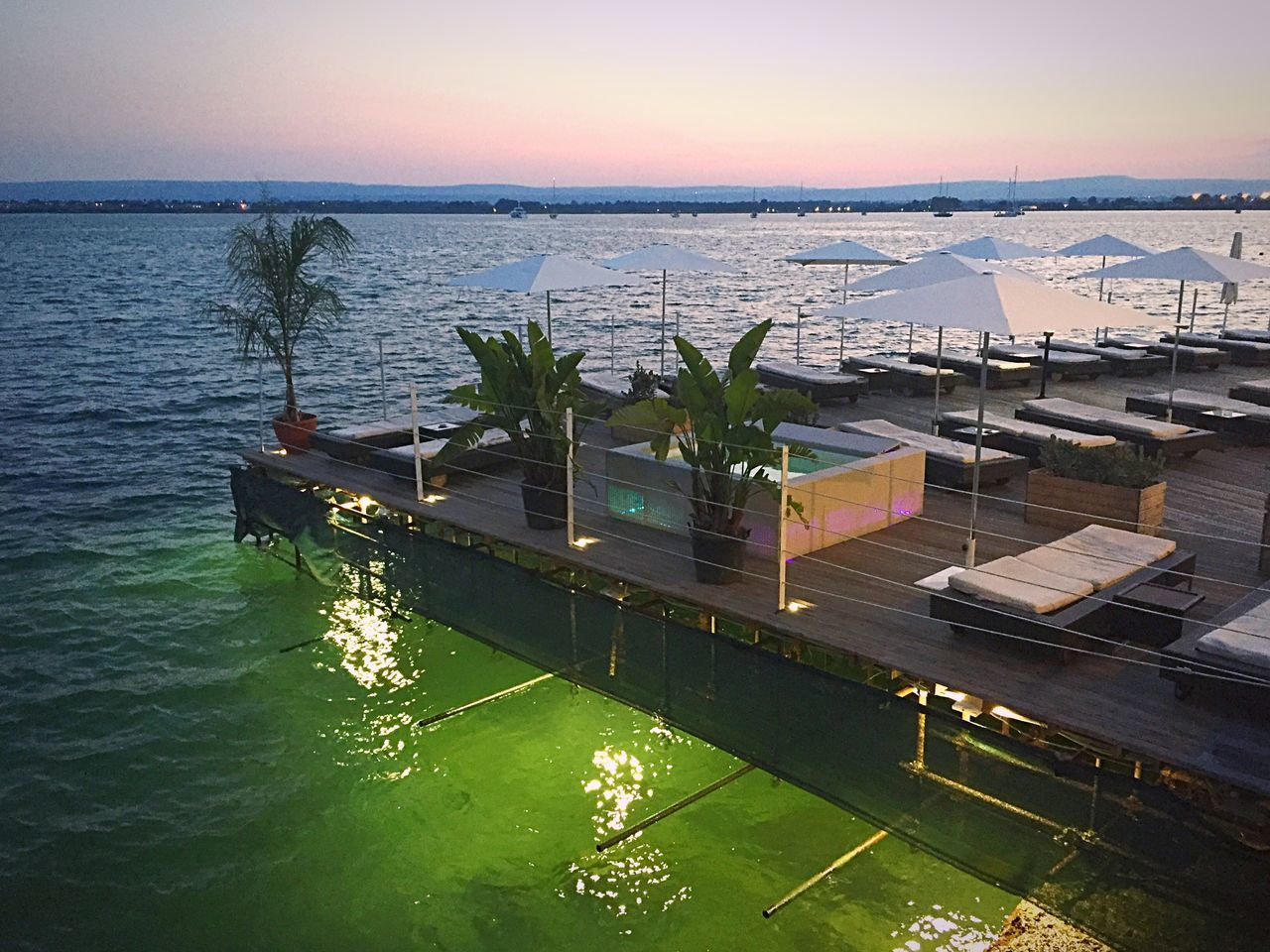 High Angle View Water Sea Beauty In Nature Nature Sunset Outdoors Built Structure Horizon Over Water Terrace Evening Sunbeds Empty Sunbeds Sicilia Empty Beach Private Beach Summer Views Summertime Summer Holidays Vacations Travel Travel Destinations Plants Jacuzzi