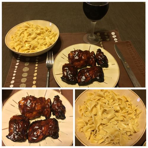 Tonight, I made BBQ boneless & skinless chicken thighs. Served with buttered noodles and my homemade 2013 Italian Amarone wine. ICanCookMyAssOff ItsAnItalianThing Grilling HomemadeItalianWine Chicken Thighs Nomnombomb Food Porn Awards MyFoodPics Food Porn