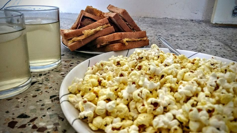 Food And Drink Food Drink Drinking Glass Freshness Prepared Potato Ready-to-eat Indoors  No PeoplePopcorns Popcorn🌽👌 PopcornTime Nestea Tea Time Tea Egg Bread Omlet Eggs For Breakfast Close-up Day EyeEmNewHere