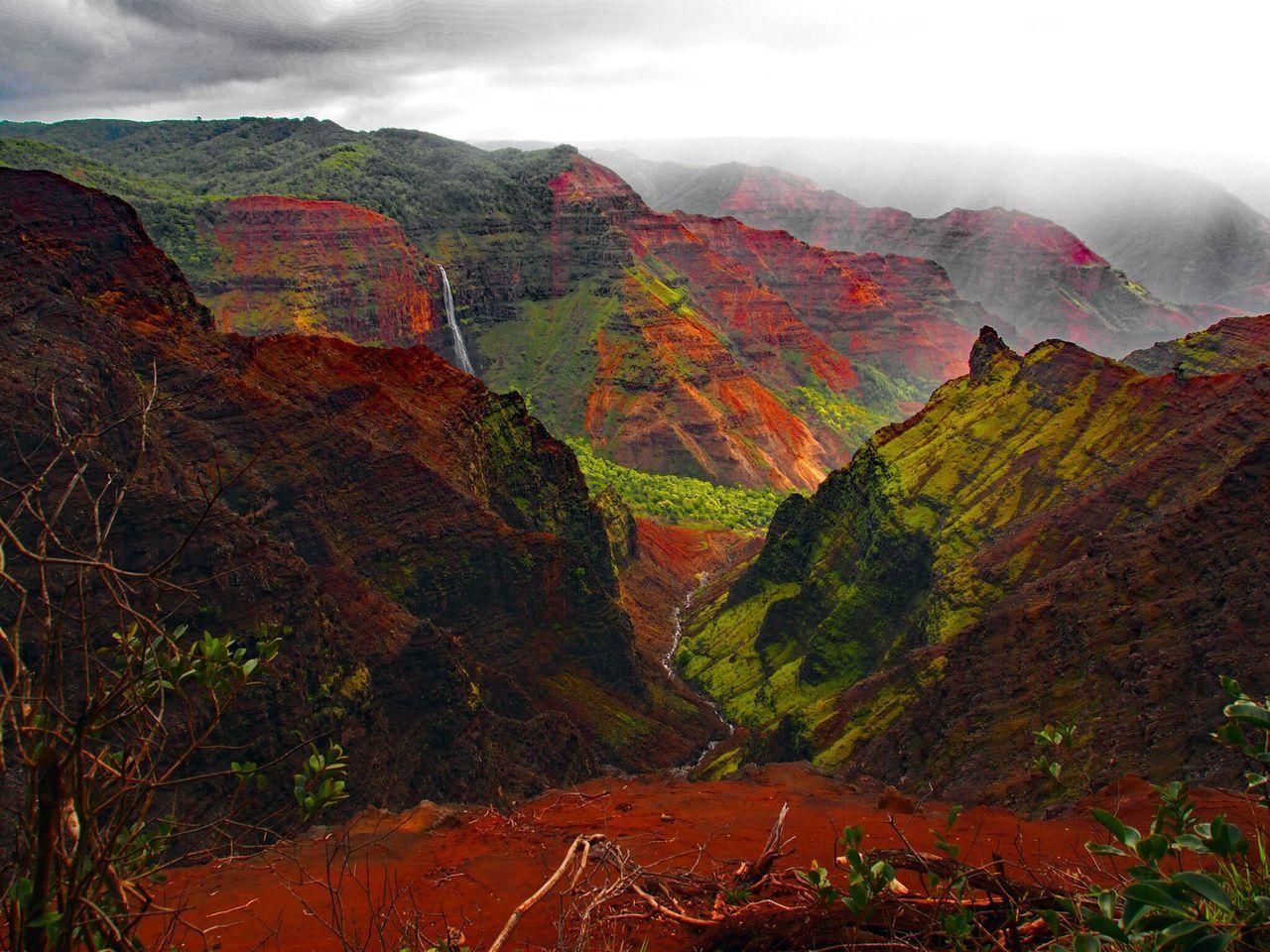 Multi Colored Autumn Beauty In Nature Scenics Travel Destinations Mountain Fog Rock - Object Nature Cloud - Sky Landscape Day Outdoors No People Water Kauai Hawaii Kauai