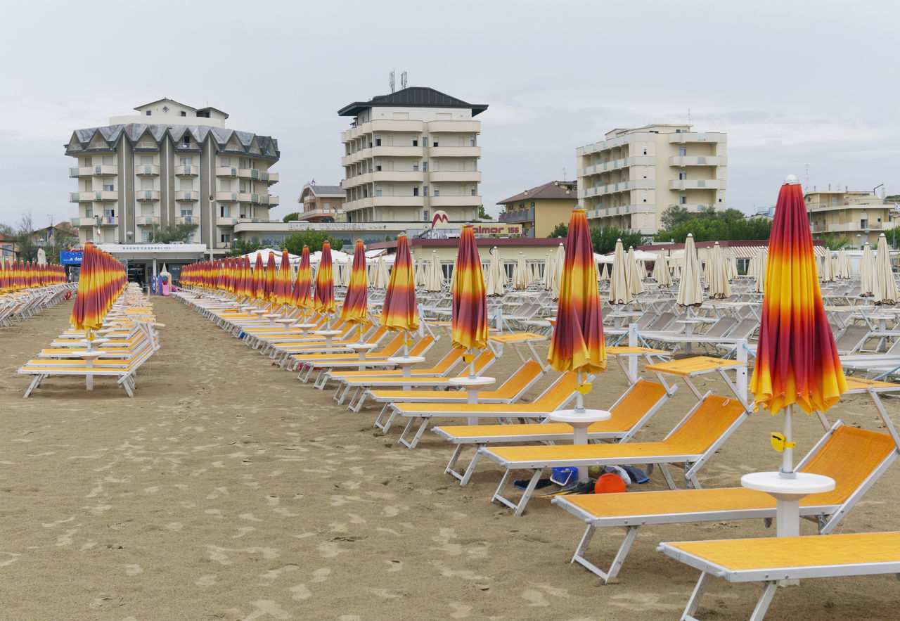 empty beach in Cervia, Emilia Romagna region, Italy Absence Arrangement Beach Cervia Deckchairs Deserted Emilia Romagna Emptiness Empty End Of Summer Europe In A Row Italy Low Season No People Off Season Outdoors Resort Sand Seaside Sun Lounger Sunbeds Sunshade Sunshades Vacation