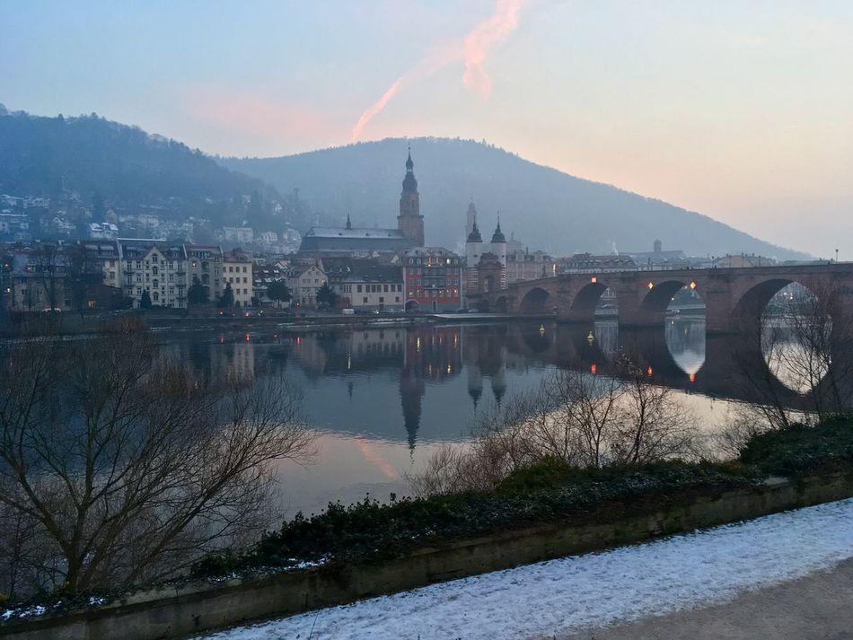 Abendpanorama Abendrot Heidelberg Neckaruferbebauung