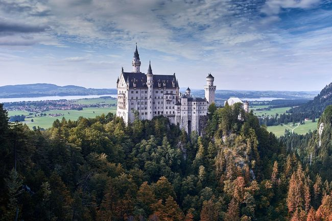 Neuschwanstein Castle in the beautiful autum Forst in Bayer 🇩🇪 Architecture Tree Sky Nature Scenics Mountain Idyllic 🇩🇪Germany Castle