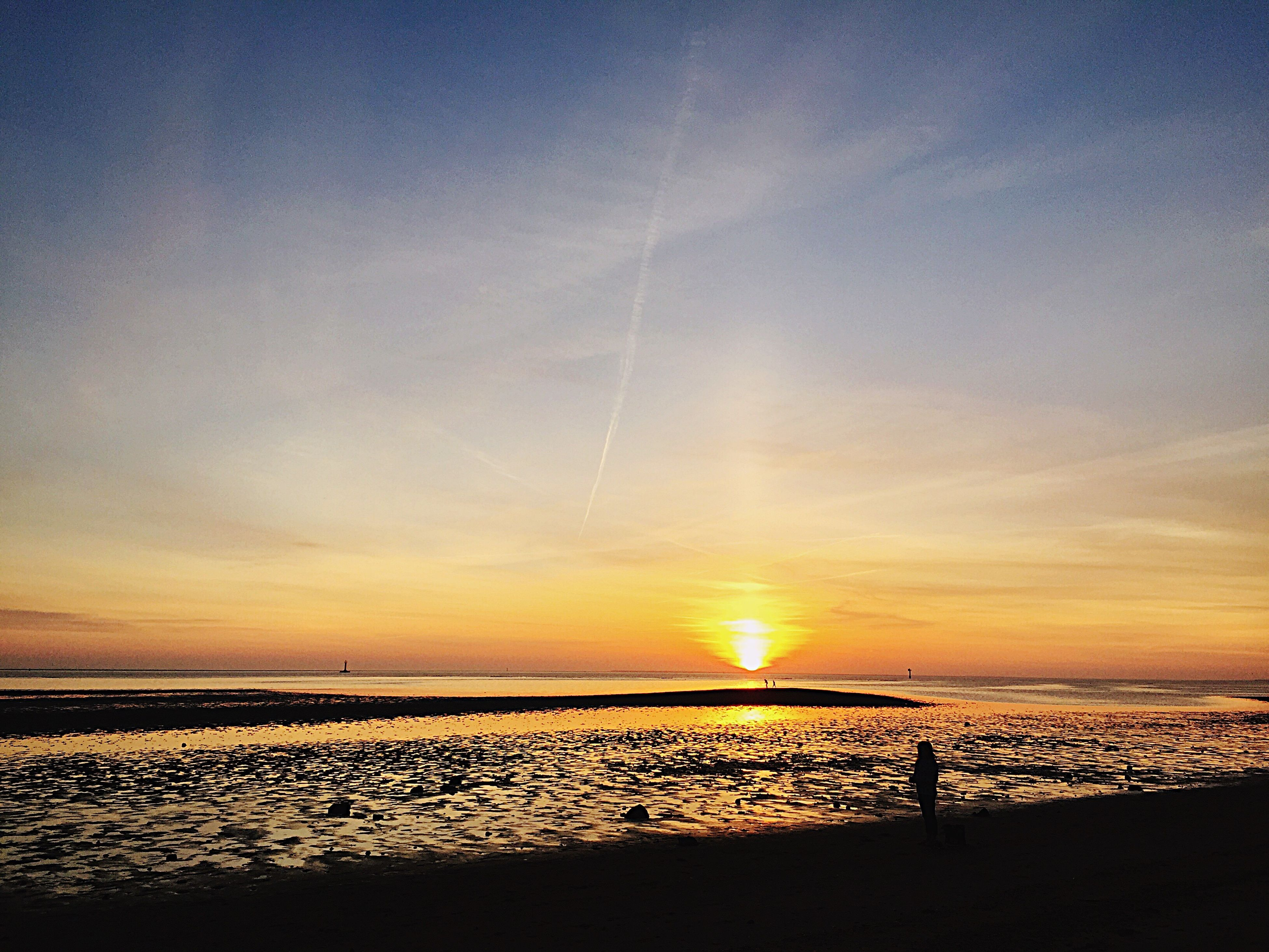 Esbjerg Sea Danmark Evening Sunny Day Hot Weather Beach Skies Sea Water Sunset Beautiful