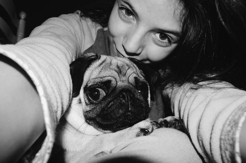 Monochrome Photography Looking At Camera Bonding Pet Owner Friendship Home Leisure Activity Luna 🌙 Pug Life ❤ Tranquility MyOnlyGirl Lifestyles Love♡ Close-up Endoftheday Happy Moments