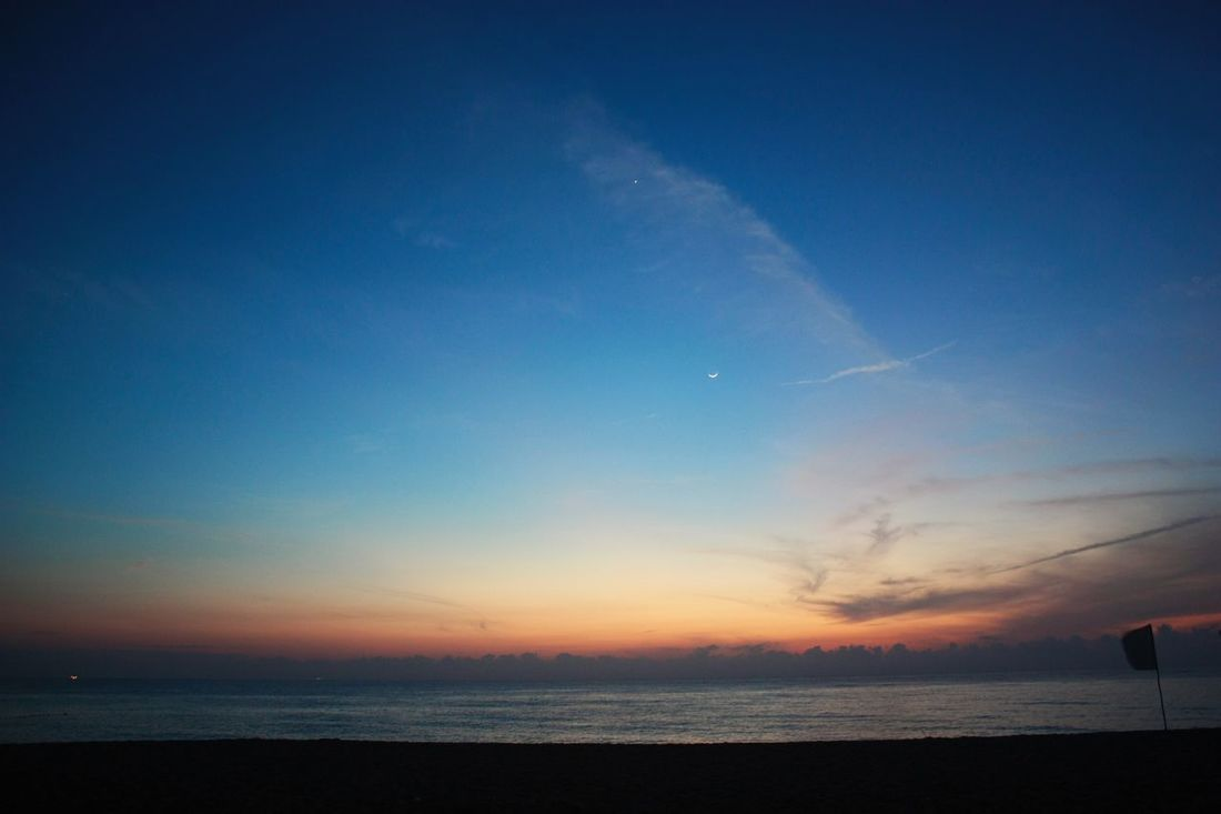 Moon Morning Star Beach Beauty In Nature Blue Horizon Over Water Nature No People Outdoors Scenics Sea Sky Sunrise Sunrise_sunsets_aroundworld Tranquil Scene Tranquility Water