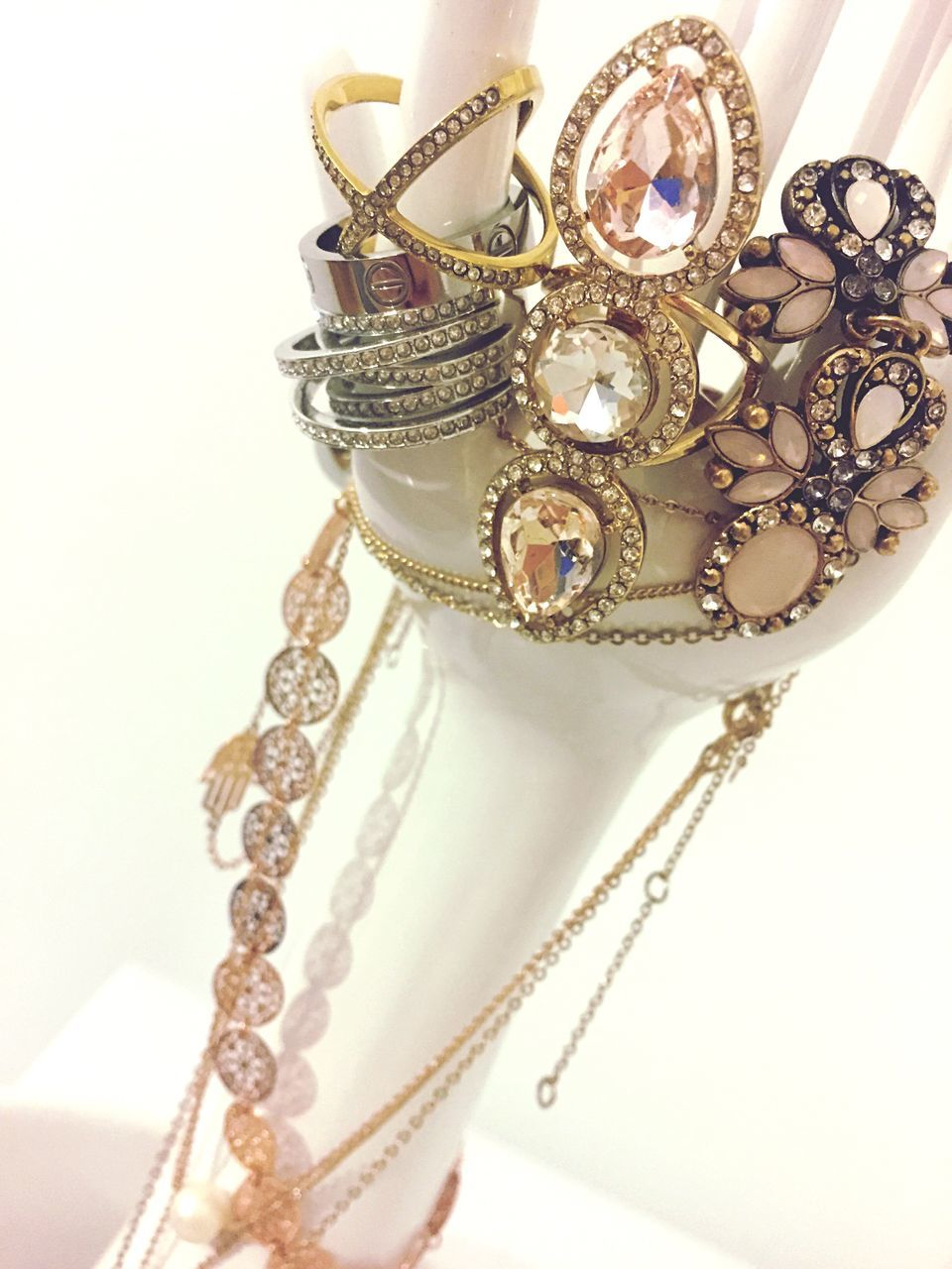 jewelry, necklace, luxury, indoors, close-up, venetian mask, no people, day