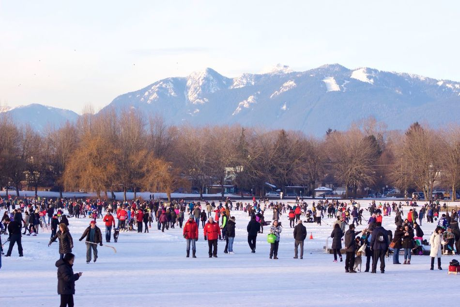 Community taking part of the Ice Skating at Trout Lake The Lake have gone Frozen after more than 20 Years  People taking Advantage of this Opportunity while it Last Warm Air will be coming Next Week might not be safe to Skate on the lake anymore. You see, Vancouver is Never this Cold Winter Cold Temperature Large Group Of People Ice-skating Leisure Activity