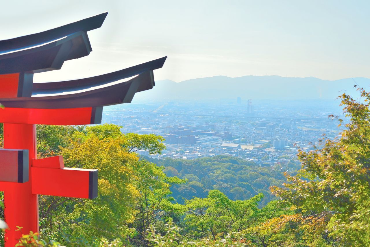 Kyoto cityscape from Inariyama mountain with a red torii gate. Japan. Architecture Beauty In Nature Built Structure Cityscape Day Inariyama Japan Japan Photography Japanese  Japanese Culture Kyoto Kyoto, Japan Mountain Nature No People Outdoors Red Torii Scenics Sky Torii Gate Tranquility Tree