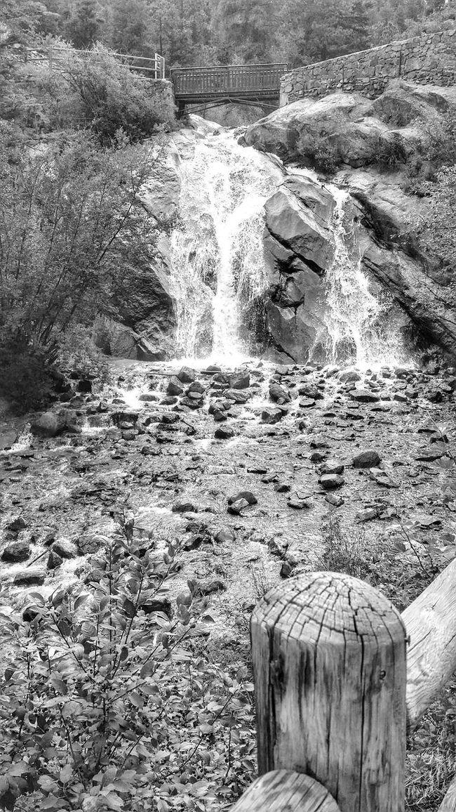 Helen Hunt Falls Colorado Springs Colorado Waterfall Stream Bridge Pedestrian Bridge Post Nature Mountains Black And White B&w