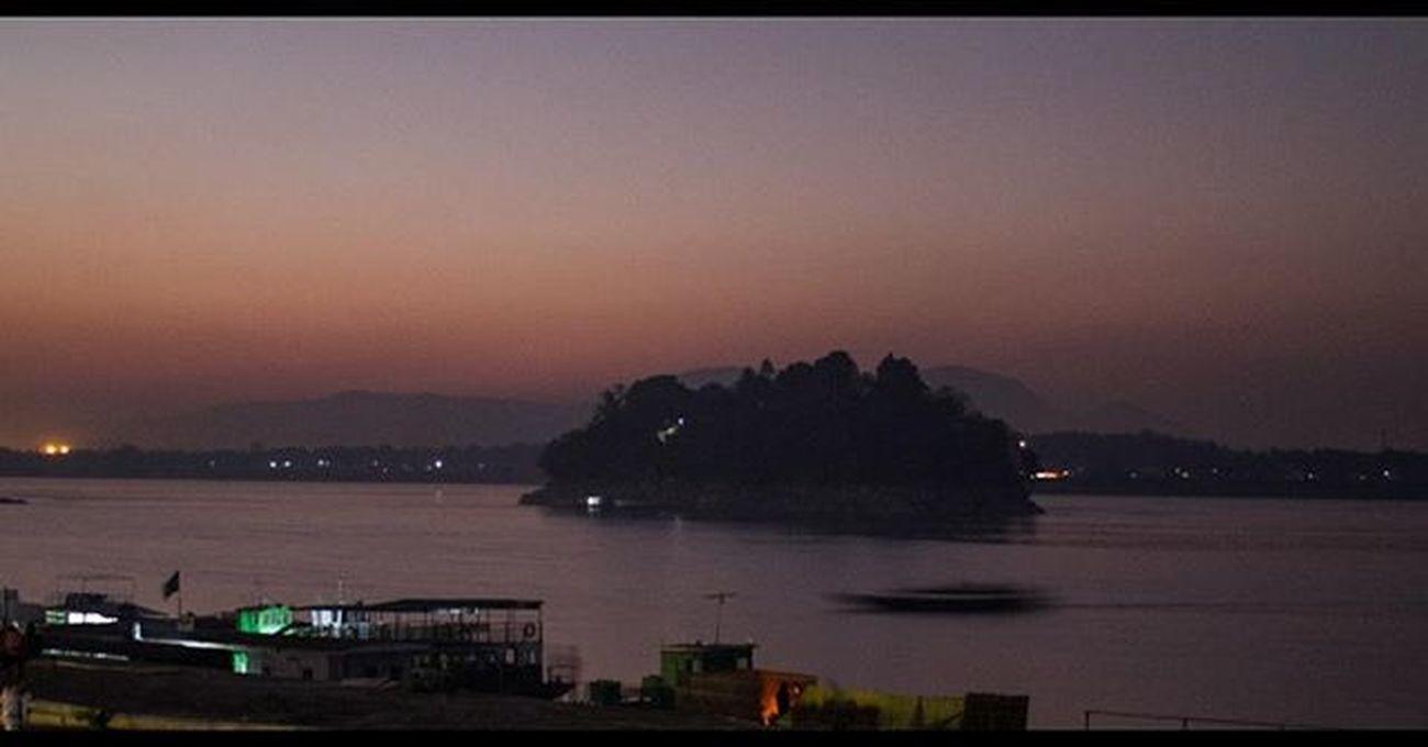 Guwahati Backpacking Brahmaputrapromenade Evening Sunset Island Boat River Riverferry Northeastindia