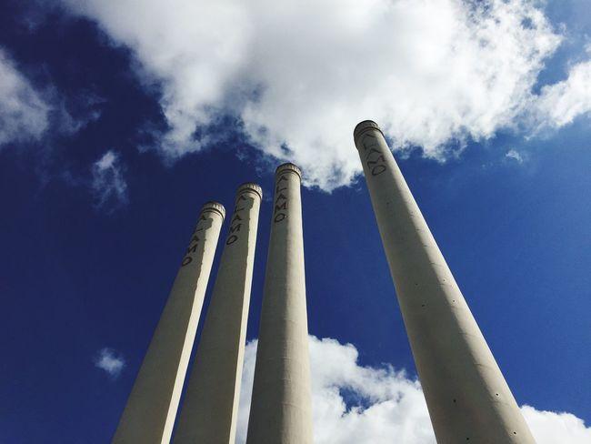 Alamo Quarry Aesthetic Low Angle View Smoke Stack Blue Tall Cloud Sky Outdoors