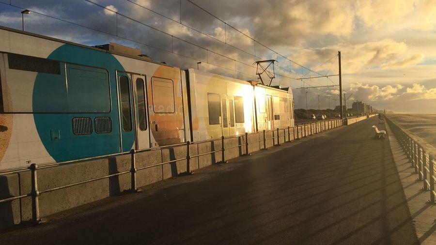 Transportation Sunset Oostende, Belgium Sea North Sea Sun Raversijde Kusttram Public Transportation Tramway