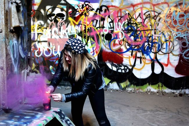Me playing with smoke balls... Photo credit goes to my sister Melody. Graffiti Art Creativity Art And Craft Lifestyles Full Length Rear View Standing Person Casual Clothing Colorful Multi Colored Outdoors Day Street Art In Front Of Young Adult Abandoned Urban Exploration Fort Worth My Favorite Place
