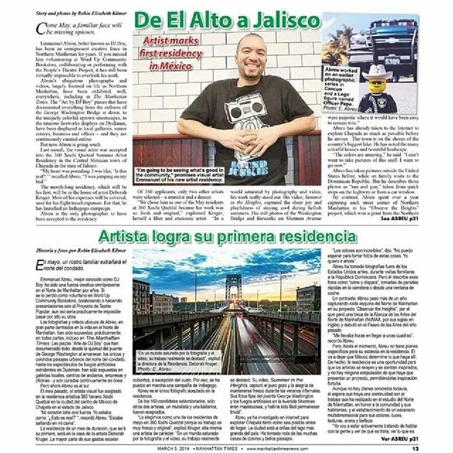 Pick up the latest Manhattan Times Newspaper and check out the nicely written article about me and my Mexico Residency. Support my efforts on indiegogo to raise funds for the trip here. Www.igg.me/at/eabreudoesmexico Manhattantimes Newspaper News Residency mexico mexico2014 newyorkcity newyork nyc uptown washingtonheights washheights @washheights inwood instagramuptown instagramnyc