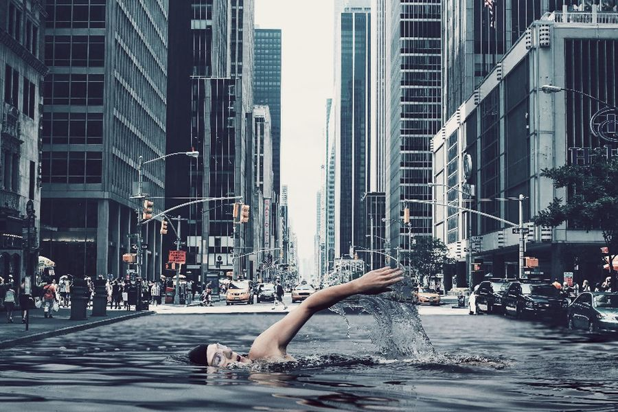 Swiming In The City Edit Building Exterior Modern City Life Outdoors