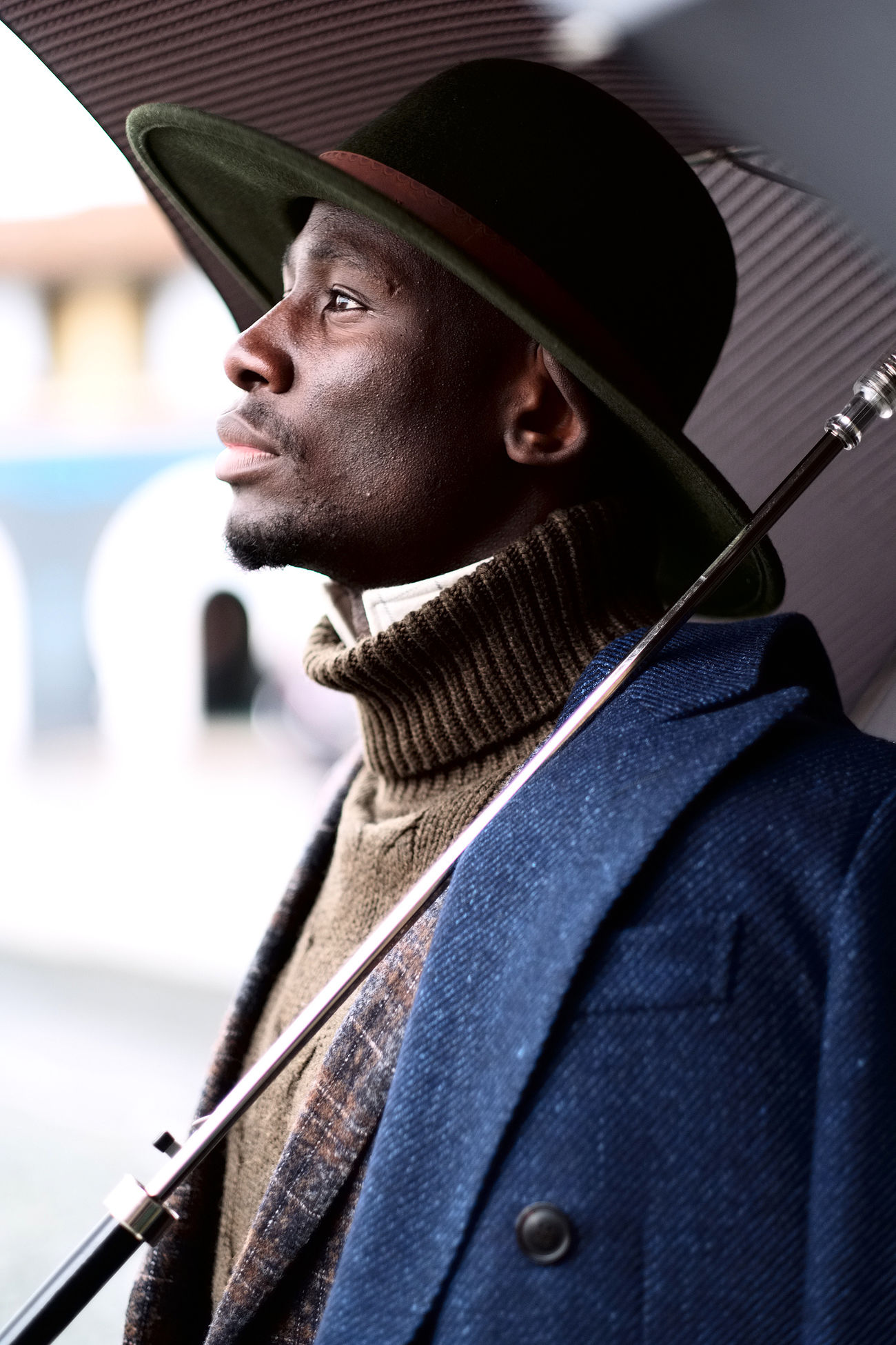 Portrait of Salmon taken in Florence during the 91th edition of Pitti Immagine Uomo. Afro Close-up Fashionable Hat Male Fashion One Person Outdoors Portrait Portrait Photography Rain Rainy Days