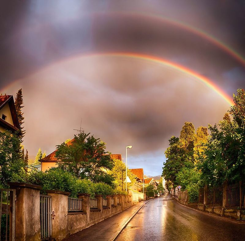 """The way I see it, if you want the rainbow, you gotta put up with the rain."" -Dolly Parton Rainbow Doublerainbow Dornbirn Austria Whatdoesitmean Dollyparton Tour Nature Nature Photography Beauty In Nature Doepicshit Talesfromtheroad Landscape Europe Travel Travel Photography"