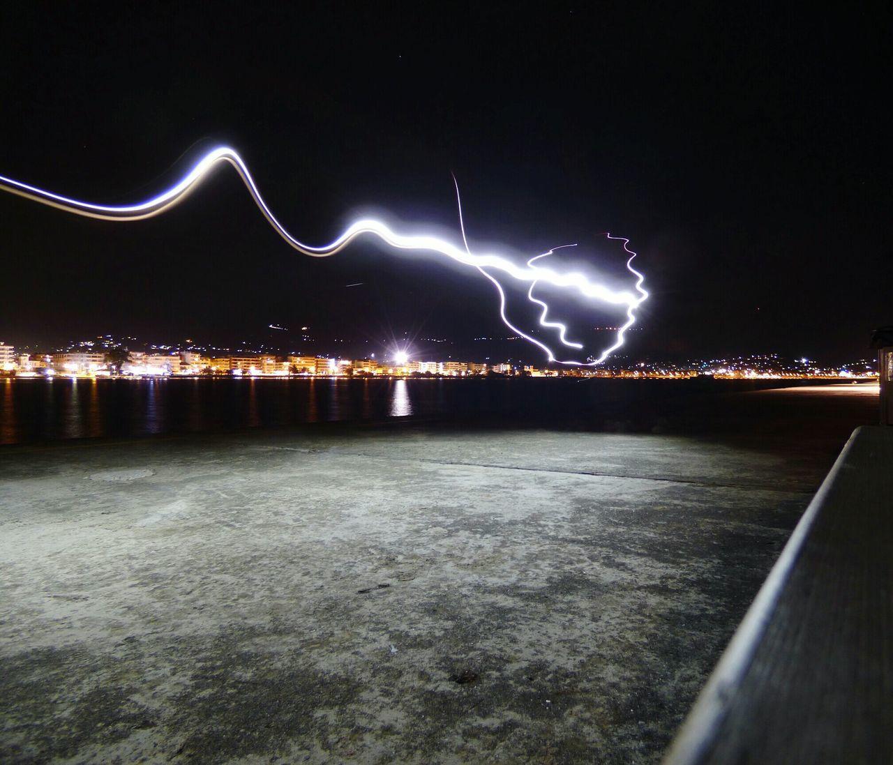 Night City Bridge - Man Made Structure Futuristic Outdoors No People Kalamata ArtWork Kalamata,Greece Photooftheday Lines And Lights Lighting Painting Super_greece Kalamata_city