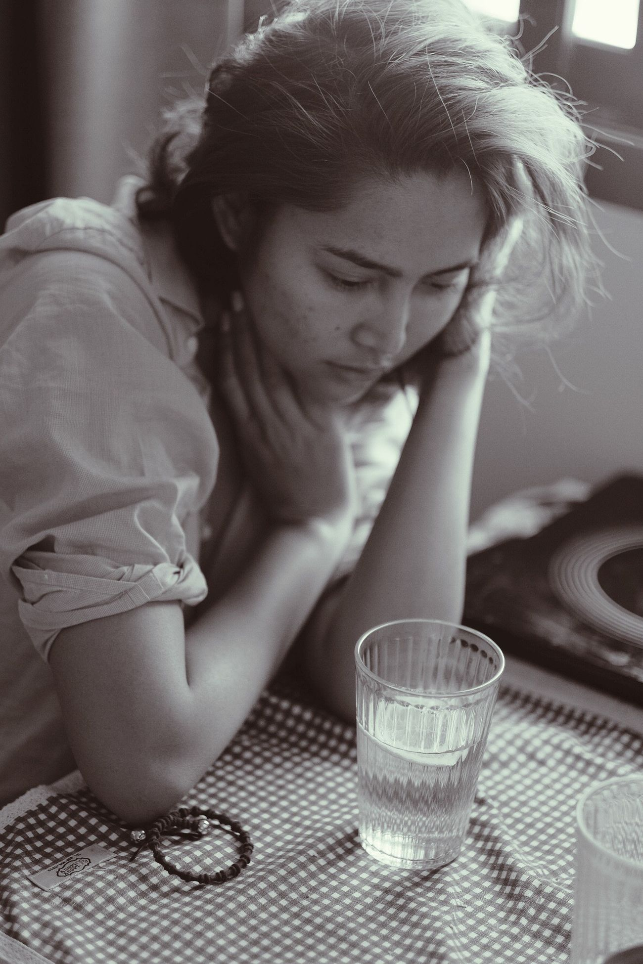 Drinking Glass Sitting Drinking Drink One Person Young Adult Table Indoors  Food And Drink One Woman Only Women One Young Woman Only Depression - Sadness Only Women Young Women Adult People Close-up Adults Only Day