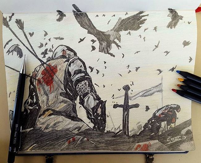 Color Fanart Pencildrawing Pencilart Pencils Criterium Chevalier Dead Blood Sword Skie Flag Bird Crow