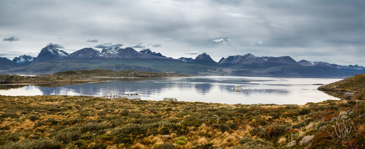 Bay in the Beagle channel - Land of Fire Andes Argentina Bay Clouds Fin Del Mundo Laguna Land Of Fire Landscape Mountain Overcast Patagonia Southernmost Tierra Del Fuego Ushuaïa