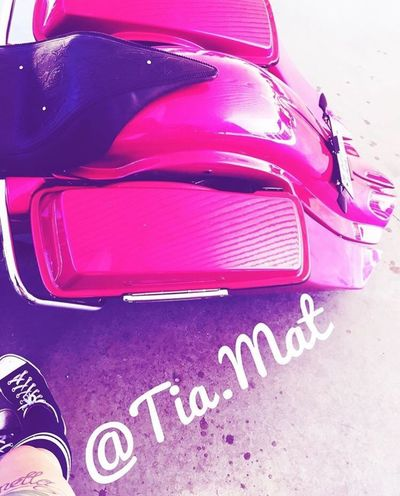 Baggerstyle Harley Davidson High Angle View Pink Color Car Communication Day Close-up No People