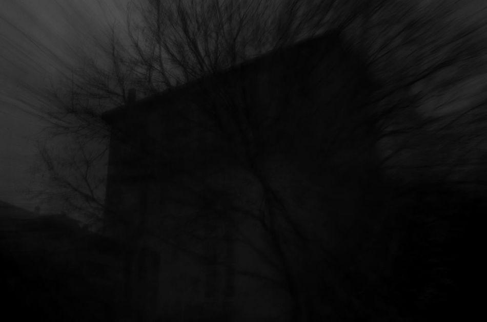 Evening Walk Dark Old House Hounted