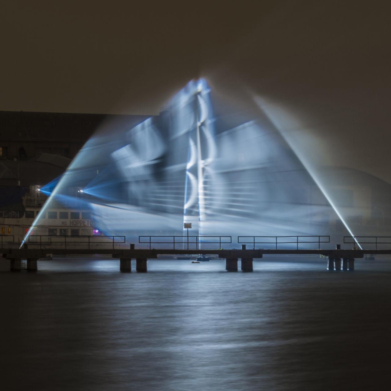 Festivaloflights Geisterschiff Ghostship Hologram Illuminated Illumination Night No People Osthafen Outdoors River Spree Sky Spree Transportation Water