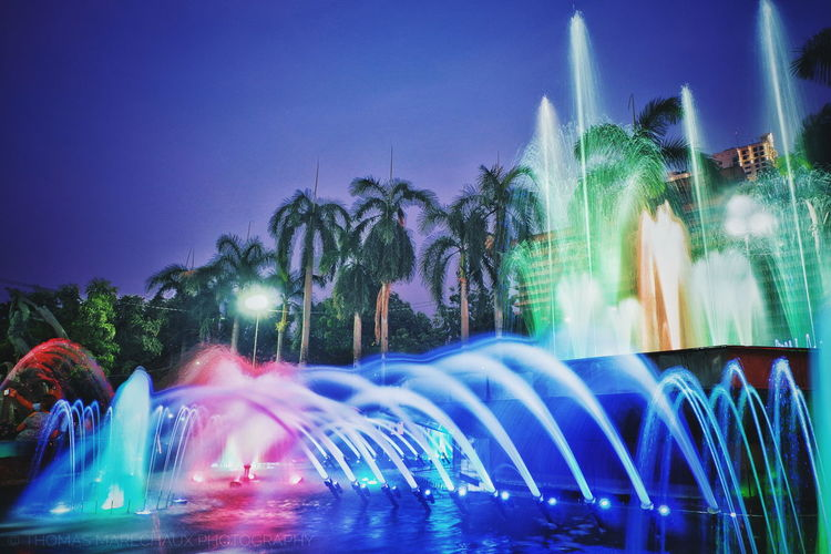 Fluid Beauty Long Exposure Fountain Illuminated Night Light Trail Blurred Motion Water Spraying Architecture Multi Colored EyeEmNewHere