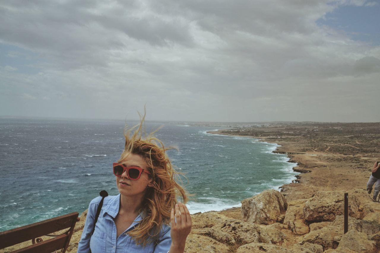 Wind is joking around us Wind Cliff Girl Erasmus Messyhair Blonde Let Your Hair Down