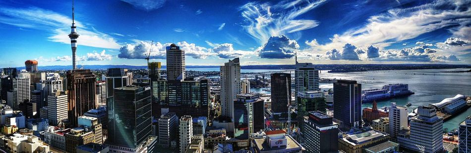 What a view of Auckland city in New Zealand. Architecture Auckland Auckland City Blue Building Exterior Built Structure City Cityscape Day Downtown District Financial District  Modern Nature New Zealand No People Outdoors Scenics Sea Sky Skyscraper Tall Tower Travel Destinations Urban Skyline Water