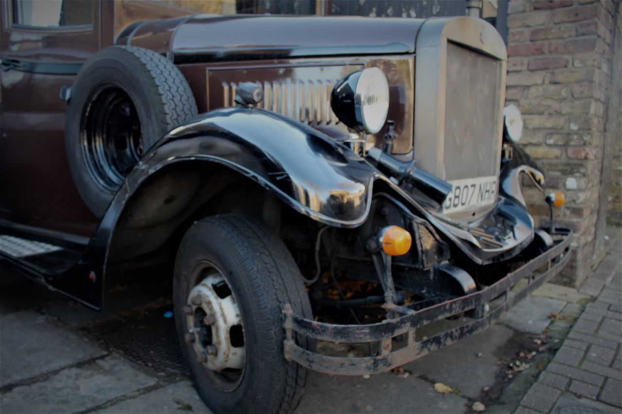 transportation, car, land vehicle, abandoned, no people, outdoors, stationary, day, tire, close-up