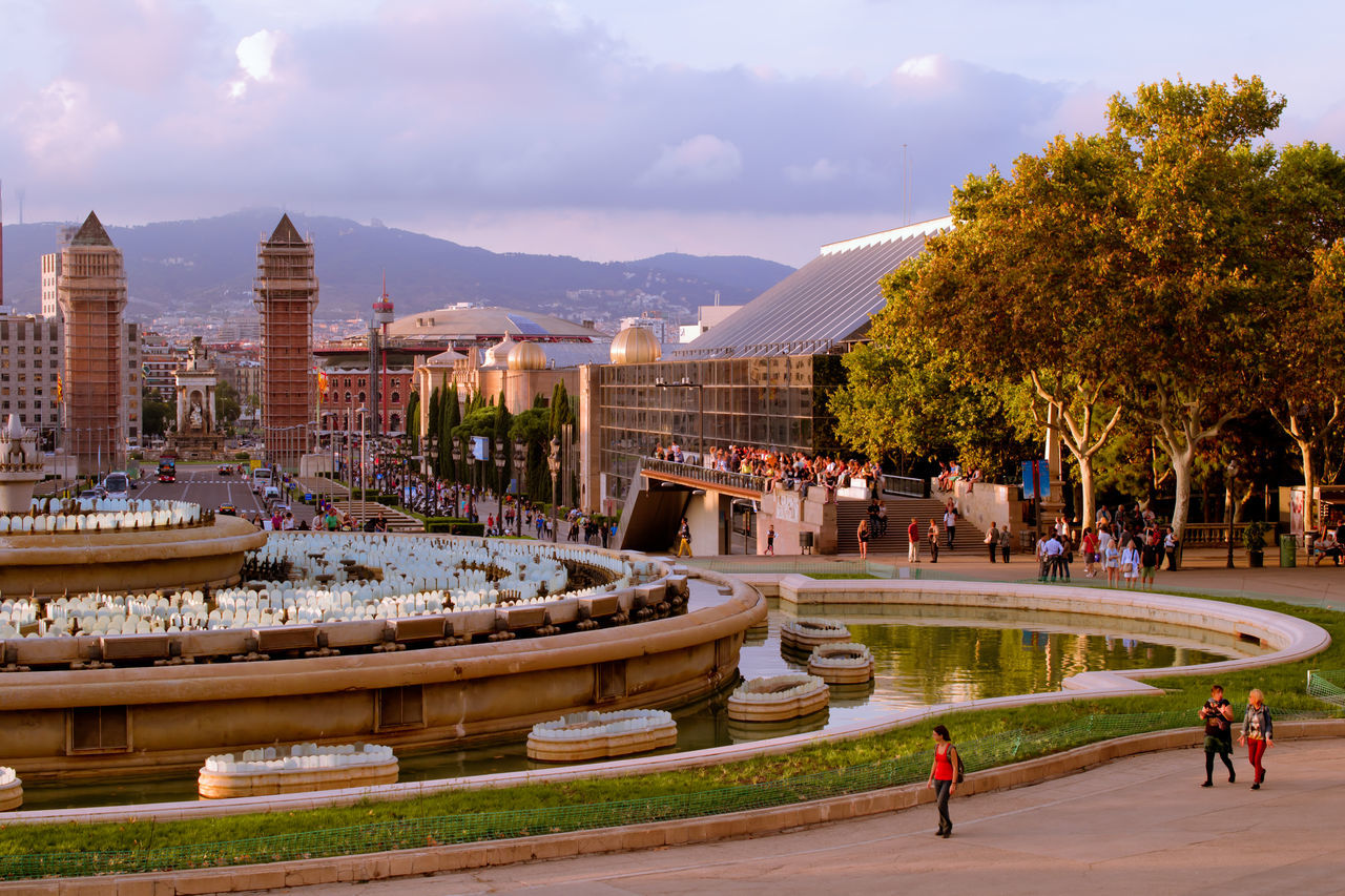 Barcelona Catalonia Catalunya Evening Evening Sky Fountain Montjuic Musician Panoramic View Popular Show Showplace Sight Sityscape Sityscapes Sky And Clouds SPAIN Spain♥ Tibidabo View Water