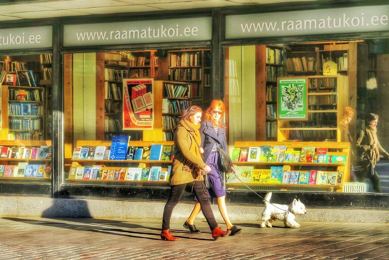 Double double walk the white dog. G7x Baltic Walking Around Steetphotography October2015 Tallinn Estonia People Watching Dog Walking White Dog city