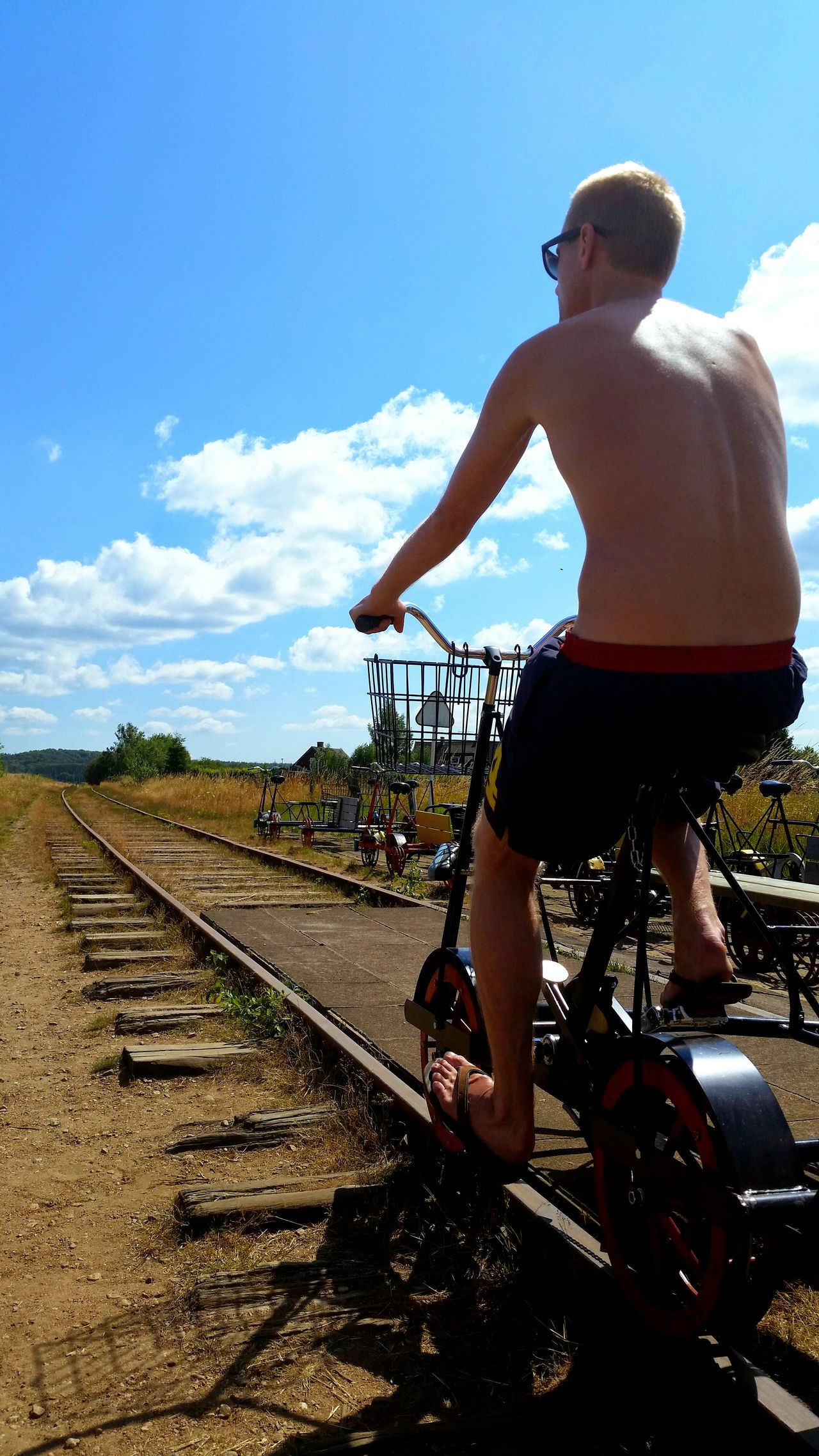 Hi! Enjoying Life On A Bike Great Day  Sunny Skies Thats Me  On Rails
