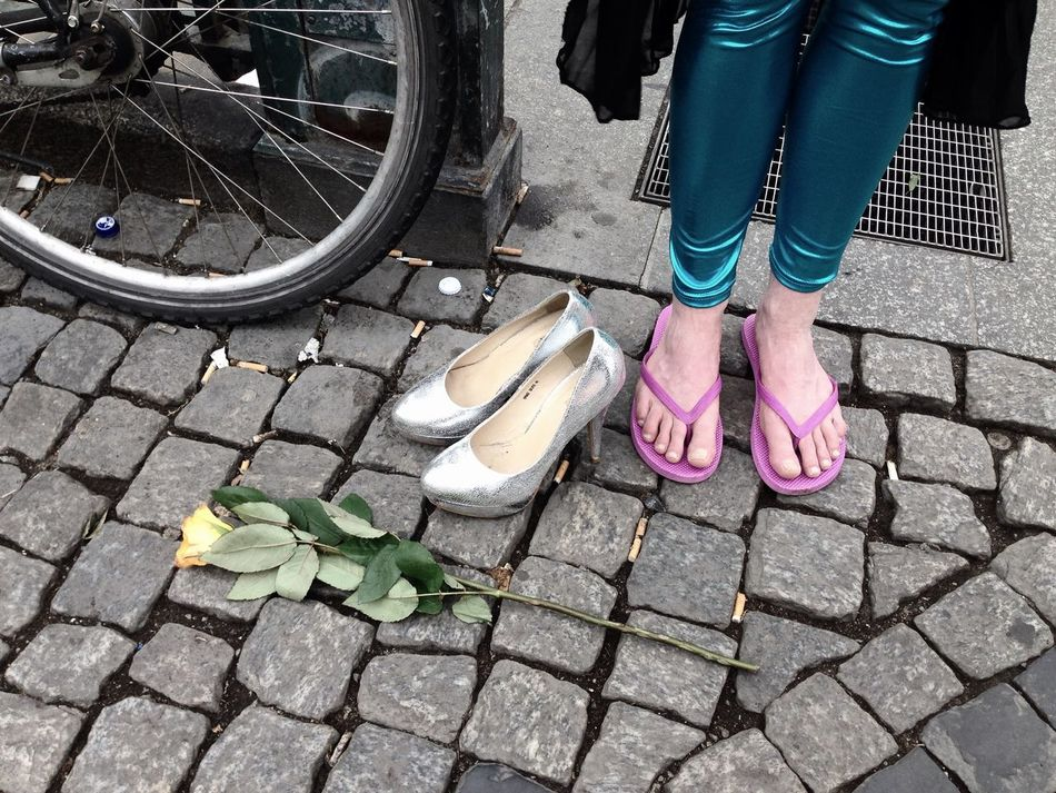 Cobblestone Day Fallen Leaf Footpath Human Foot Journey Leaf Lifestyles Low Section Mode Of Transport Morning After Outdoors Part Of Party Paving Stone Person Shoe Standing Trans Transportation Travel Waiting