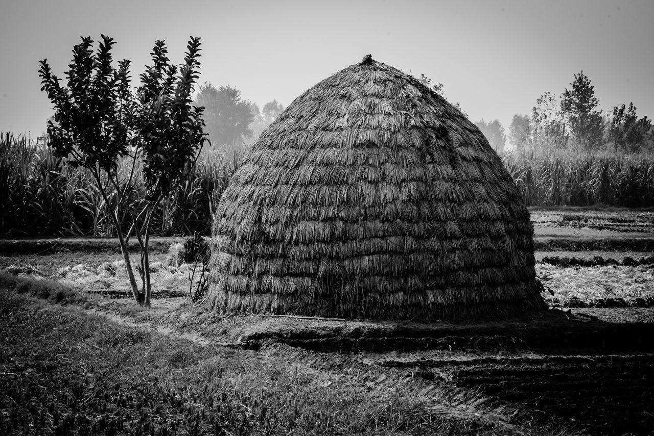 Simple living in nature Nature Rustic Serenity beauty in Nature Field Grass Hay bale house human hand hut landscape Nature outdoors rural scene sky Tranquility Tree EyeEmNewHere black and white friday