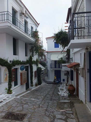 Typical Alleyway with Shops & Houses above Architecture Balconies Blue Sky Building Exterior Built Structure Cobblestone Composition Footpath Full Frame Greece No People Outdoor Photography Potted Plants Quaint  Railings Residential Building Residential Structure Skiathos Street Sunlight And Shadow Tourism Tourist Attraction  Town Walkway White Buildings