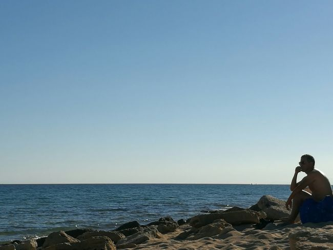 """A man thinking about his future in the Skyline"" Taking Photos Hello World Sun Sunny Day Sunset Sky Skyline Sea And Sky Sea Beach Beachphotography Puglia Puglia South Italy Salento Taranto Original Original Photography No Filter, No Edit, Just Photography No Filter"