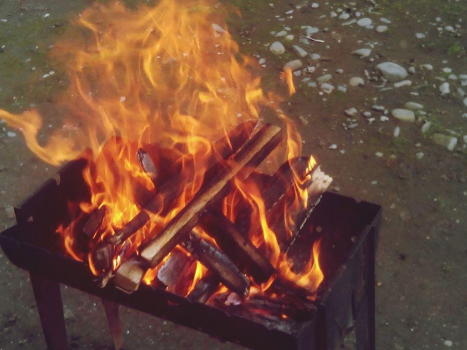 огонь шашлыки мангал краса дрова