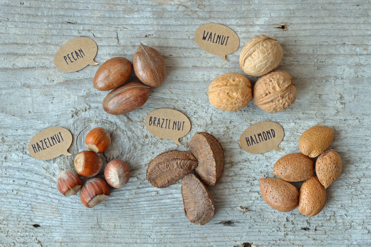 Nuts: pecan, walnut, hazelnut, brazil nut and almond Almond Almonds Brazil Nuts Cholesterol Close Up Diabetes Diet Dried Fruit Fiber Food Fruit Hazelnut Hazelnuts Health Healthy Eating Label Natural Nature Nut Nutrition Pecan Tag Walnut Walnuts Written