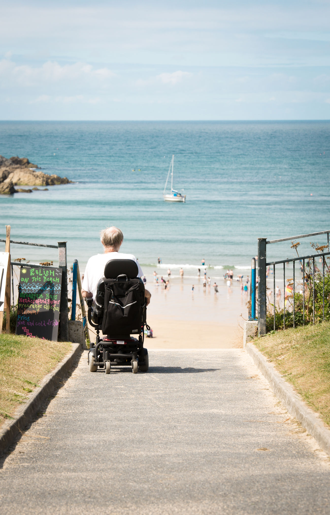 Wish he could.... Adult Adults Only Day Differing Abilities Full Length Horizon Over Water Loneliness Old Age One Person Outdoors Paralysis People Physical Impairment Rear View Sadness Sea Sea View Sitting Sky Wheelchair Wheelchair Access Wish