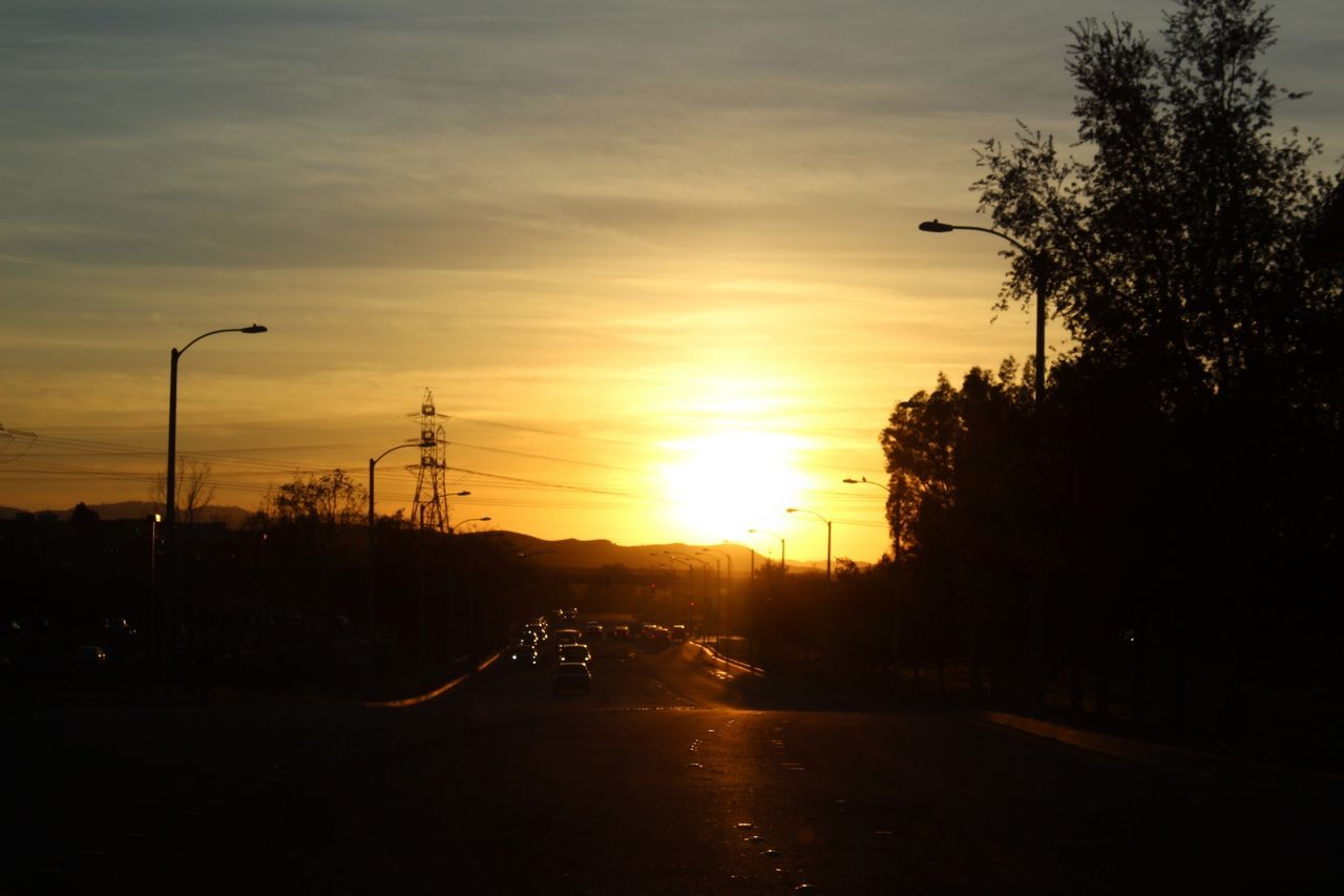 daily trip Sunset Street Light Silhouette Dramatic Sky No People Tree Beauty In Nature Nature Sky Outdoors On The Road Were Off In The Distance Sunset Silhouettes Sun Shining From My Point Of View Eye Em Nature Lover