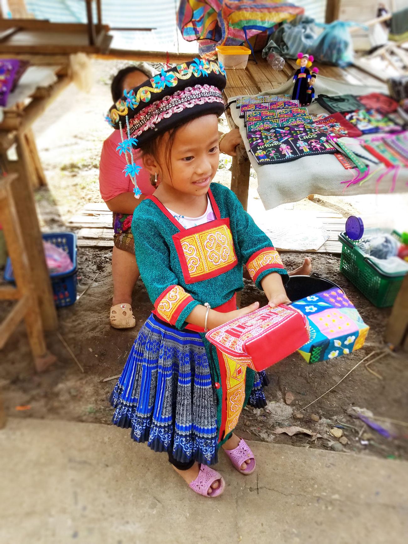 2017 ASIA Childhood Colorful Culture Cute Day Girls Laos Luang Phabang Luang Prabang Mon National Costume Outdoors People Real People Seller Shop Shopping モン族 ラオス ルアンパバーン