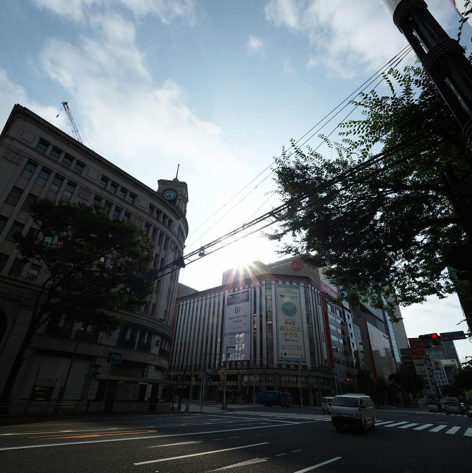 Good Morning Streetphotography Relaxing Cityscapes Taking Pictures Taking Photos Olympus Wide Angle Mitsukoshi Ginza Wako Crossing Wideangle
