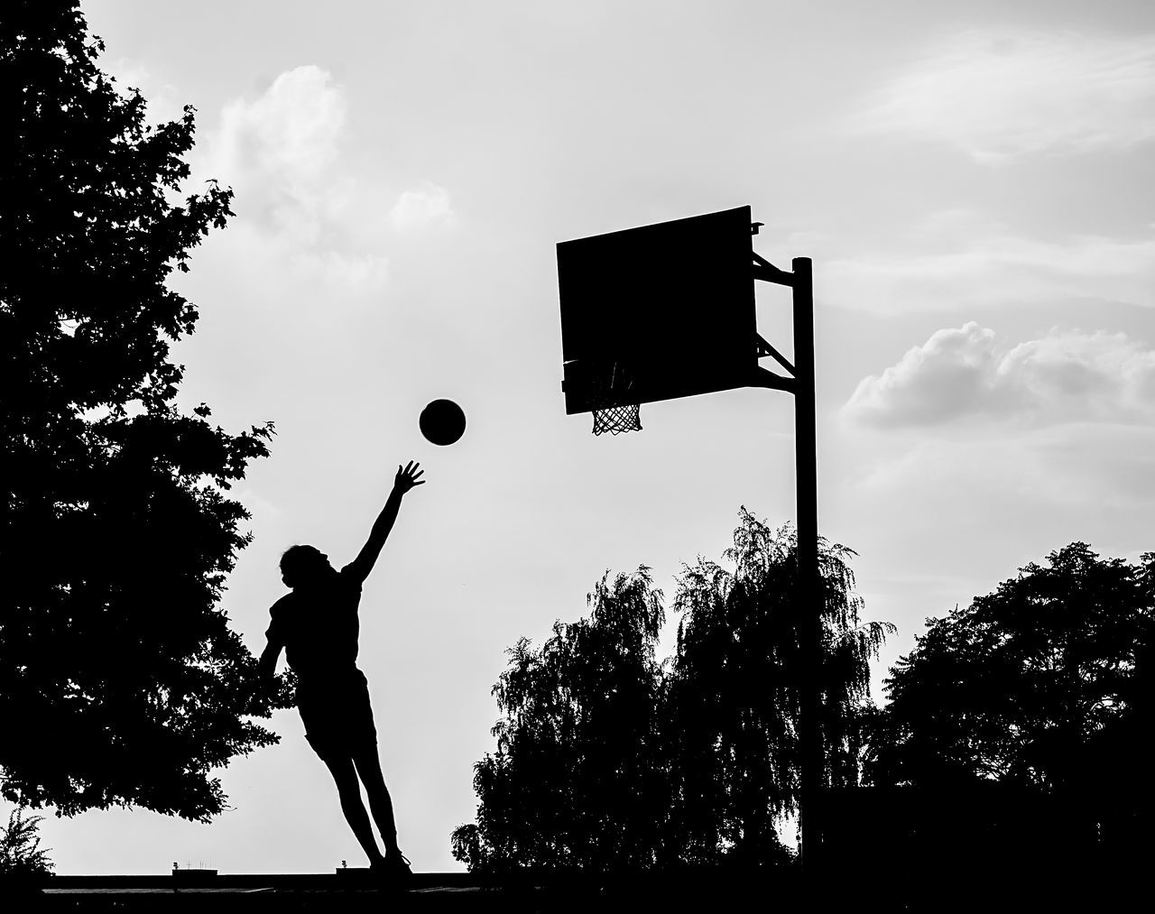 Basketball Blackandwhite Capture The Moment Fly Flying I Love This Game Low Angle View My Fuckin Berlin Outdoors Real Berlin Real People Silhouette Sport In The City Sports Photography Street Street Light Streetphotography Summer Sun Tempelhofer Feld Tree The Street Photographer - 2016 EyeEm Awards
