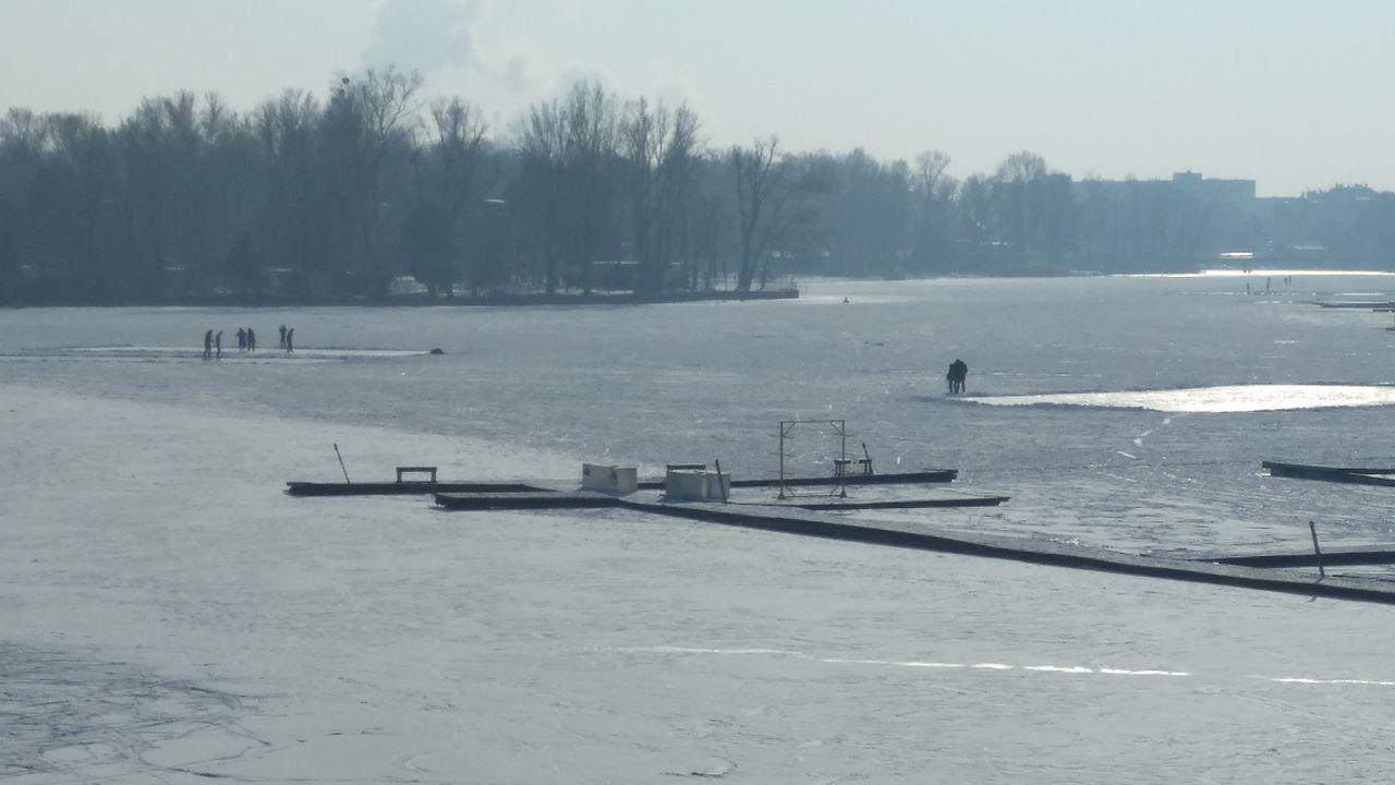 Alte Donau, Leute am Eis Winter Cold Temperature Ice Frozen Lake Frozen River Frozen Frozen Water Snow Covered Snowsports Beauty In Nature Winter Sport Nature