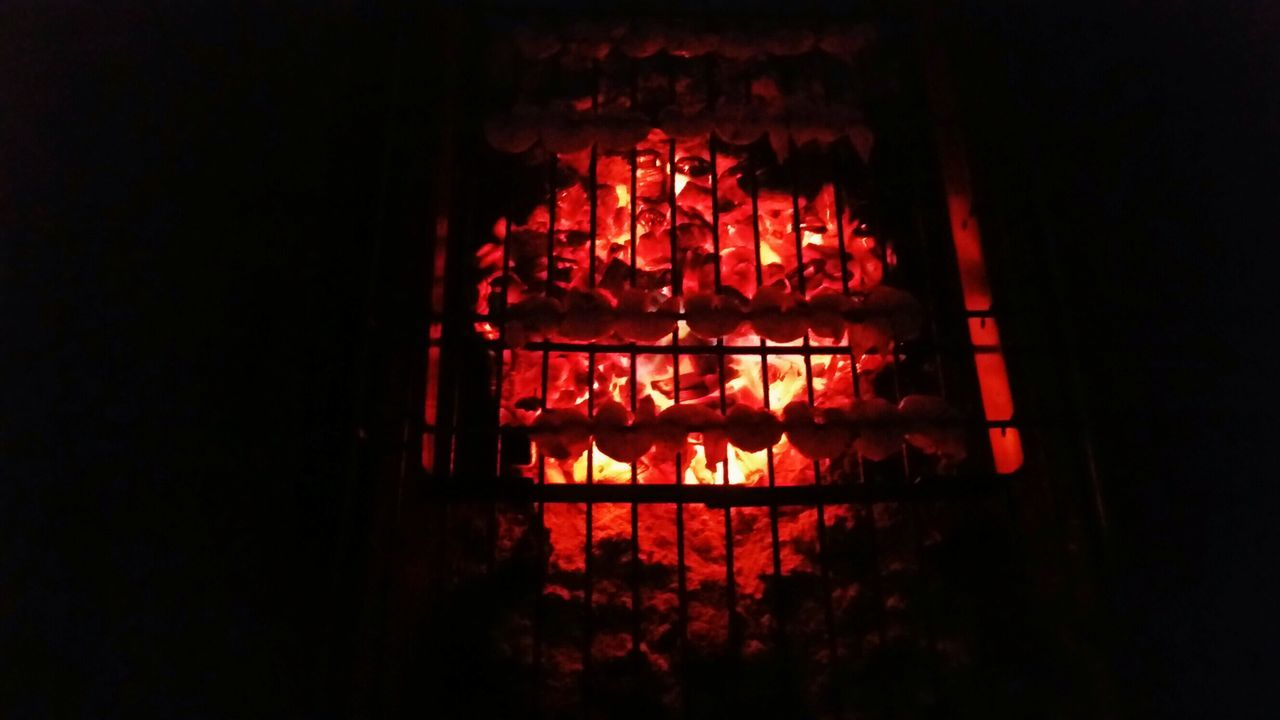 night, illuminated, glowing, flame, heat - temperature, indoors, no people, red, burning, lantern, hanging, low angle view, close-up
